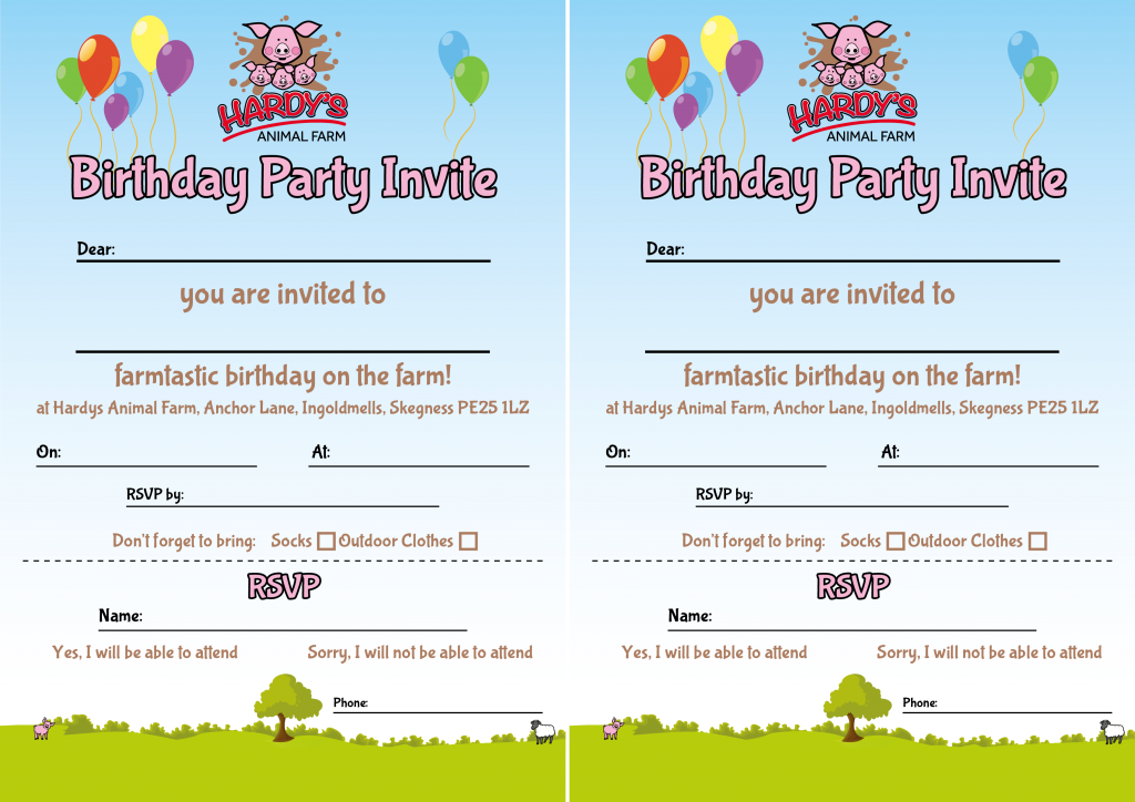 Hardys Birthday Party Invite